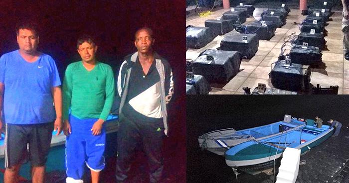 Embarcación incautada en costas de Sonsonate transportaba más de 900 kilos de droga