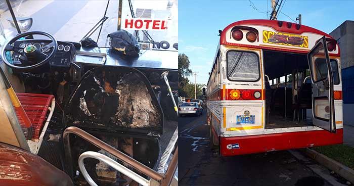 Autobús de la ruta 52 prende en llamas cuando hacía su recorrido