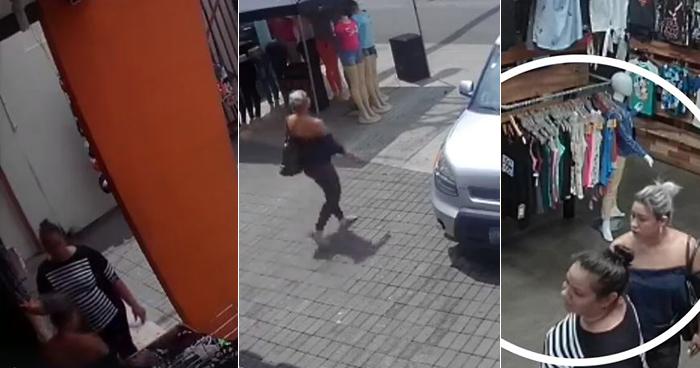 Trío de bandidas hurtan mercadería de una tienda de zapatos en Sonsonate