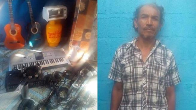Arrestan a sujeto que había robado artículos de una iglesia católica en Morazán