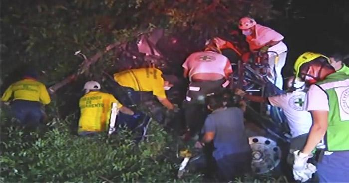 Cuatro lesionados tras fuerte accidente en carretera a Santa Ana