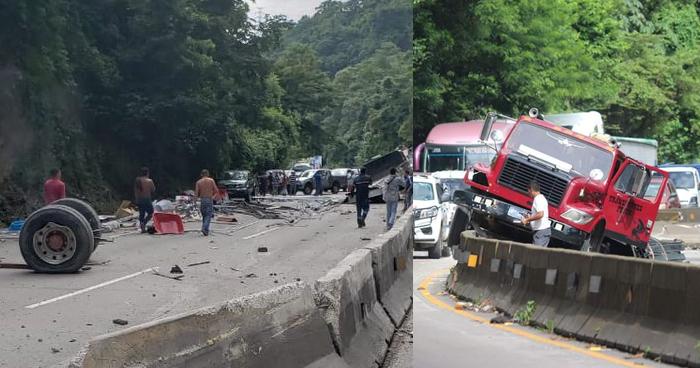 Camión pierde eje trasero y termina impactando contra los separadores en carretera Los Chorros