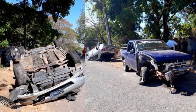 Cuatro lesionados tras fuerte choque, por sobrepasar en sentido contrario, en Moncagua, San Miguel