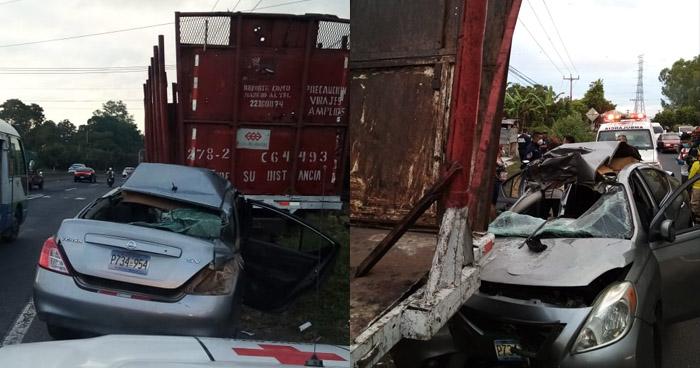 Dos lesionados tras fuerte accidente en carretera de Quezaltepeque