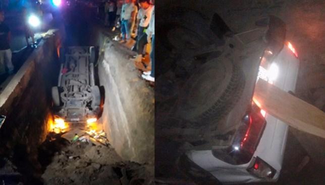 7 personas resultaron lesionadas, luego que pick up se precipitara a un hoyo en Zaragoza