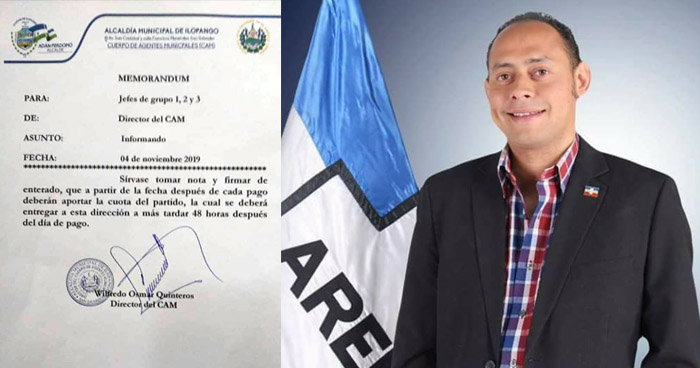 Alcaldía de Ilopango exige a empleados municipales cuota para ARENA