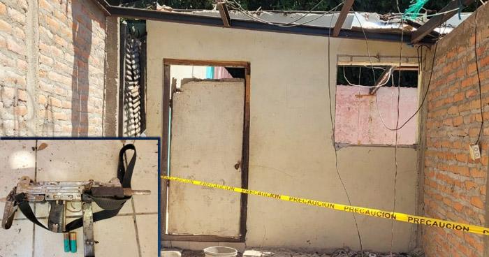 Encuentran armas en vivienda abandonada en Santiago Texacuangos, San Salvador