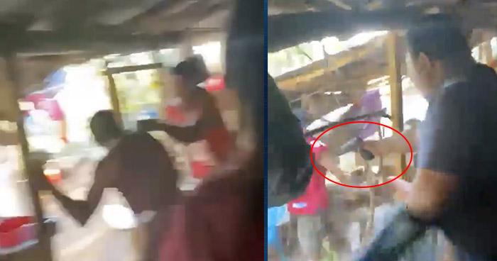 VIDEO | Sujeto irrumpió en una reunión y atacó con un cuchillo a su esposa en Sonsonate