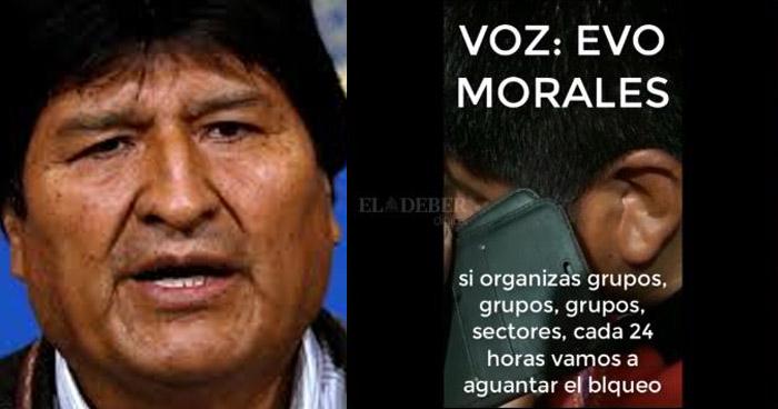 Revelan audios en que Evo Morales organiza bloqueos