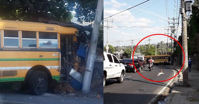Autobús impactó contra una vivienda a la orilla del Bulevar Venezuela