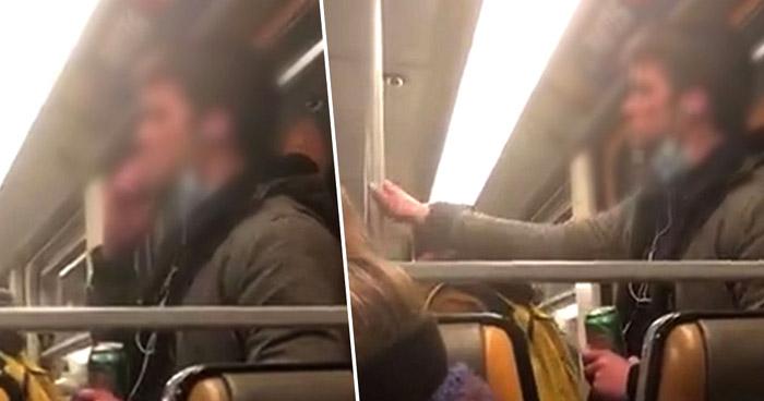 Graban a un hombre esparciendo su saliva en el metro de Bruselas en medio de alarma por COVID-19