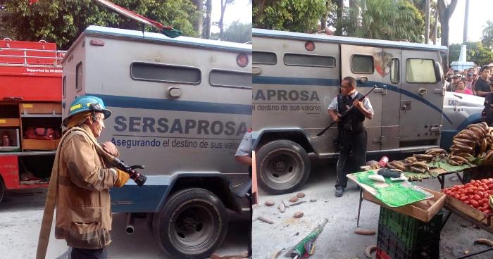 Tres lesionados tras explosión de camión blindado frente a parque de Ahuachapan