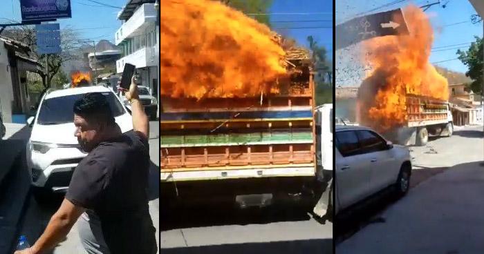VIDEO | Camión se incendia al hacer contacto con cables del tendido eléctrico en La Unión