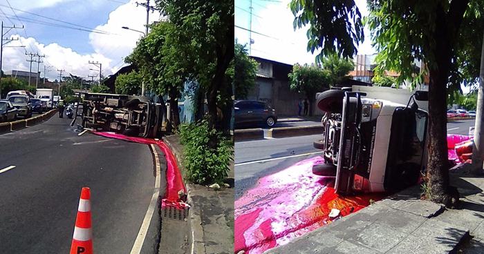 Camión lleno de pinturas vuelca y cierra carriles hacia Soyapango en el bulevar Venezuela