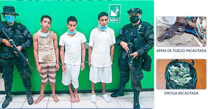 Pandilleros capturados con droga y un arma en Chilanga, Morazán