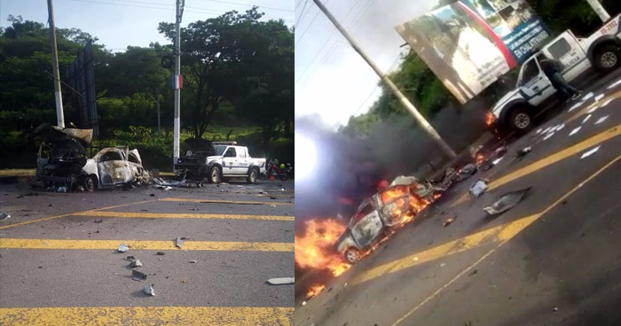 Agentes de la PNC lesionados tras atentado con coche bomba en Chalatenango