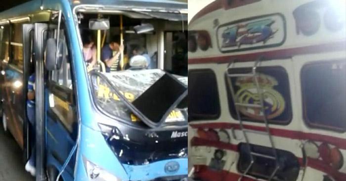 Varias personas lesionadas tras choque entre buses sobre el Bulevar del Ejército