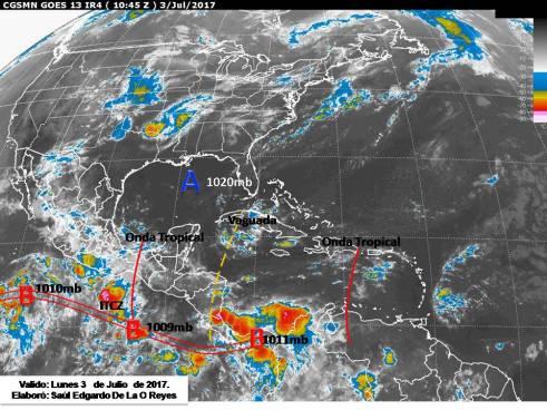 Probabilidad de tormentas de moderada intensidad provocada por humedad