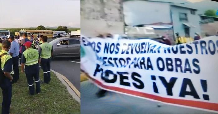 Cierran vías principales que conducen hacia San Salvador por impago de FODES