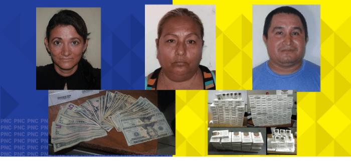 PNC captura a tres personas por contrabando de mercadería