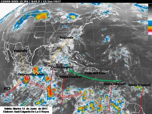 Probabilidad de lluvias por la por Onda Tropical y Zona de Convergencia Intertropical