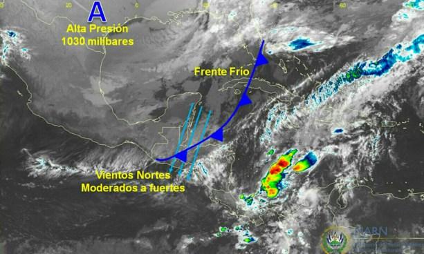 Frente Frío sobre Centroamérica y Alta Presión favorecen el ingreso de Vientos Nortes moderados a fuertes