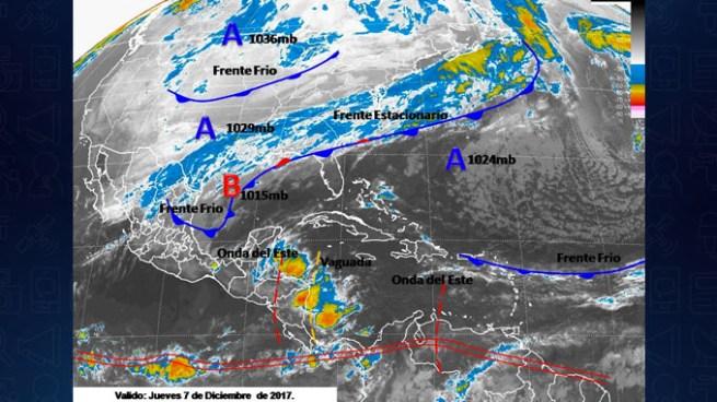 Flujo zonal de componente Este podría influenciar algunas precipitaciones para hoy