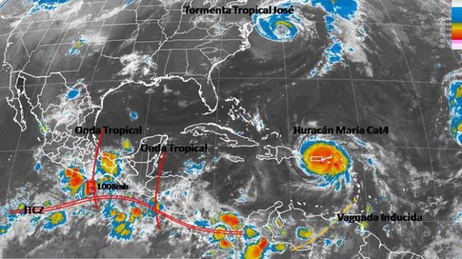 Tormentas por influencia de la Zona de Convergencia Intertropical y Onda Tropical