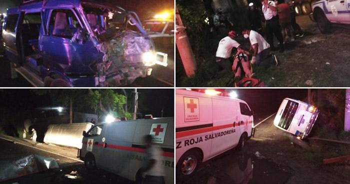 Cinco lesionados tras fuerte choque sobre carretera Panamericana, en Cojutepeque
