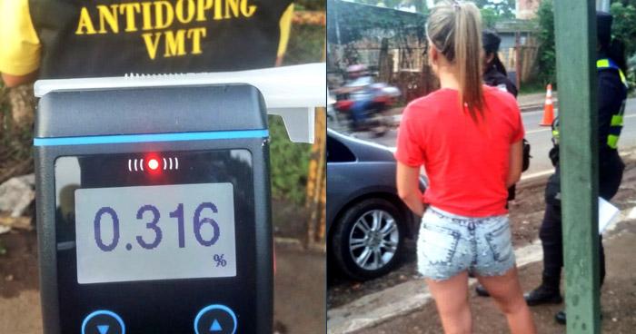 Detienen a joven que conducía con 316 grados de alcohol en la sangre