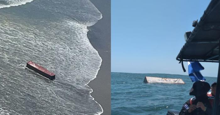 Localizan 11 contenedores en la costa salvadoreña, embarcación con rumbo al puerto de Acajutla perdió 21
