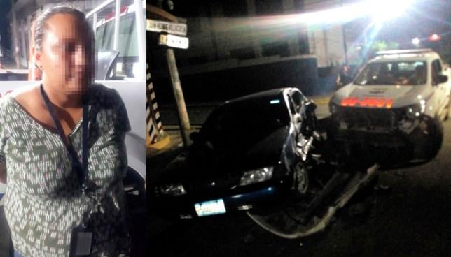 Conductora ebria es capturada luego que chocar con una patrulla y lesionar a tres soldados