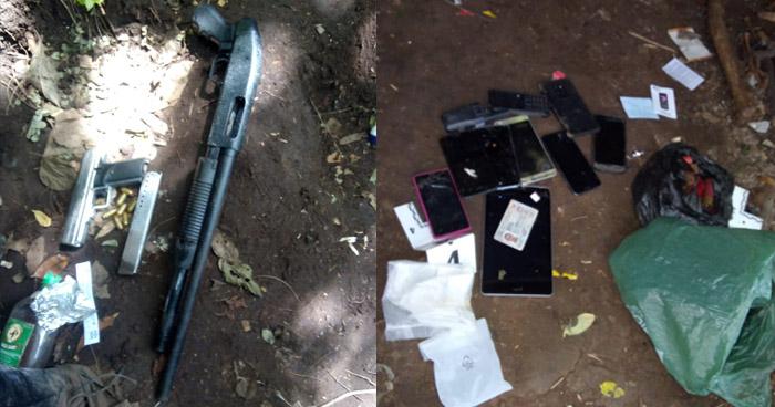 Pandilleros abandonan droga, un arma y celulares tras intercambio de disparos con policías