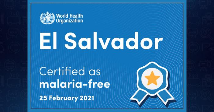 El Salvador recibe certificación de eliminación de la malaria