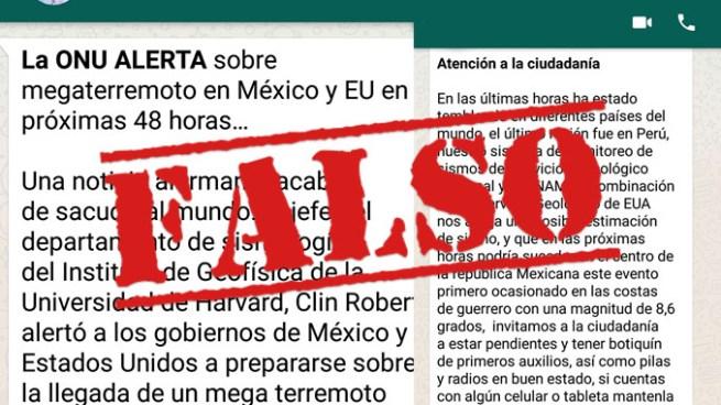 """FALSA CADENA DE WHATSAPP: """"La ONU ALERTA sobre megaterremoto en México y EU"""""""