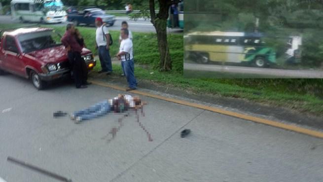 Bus embiste patrulla policial que custodiaba un cadáver de anciano atropellado