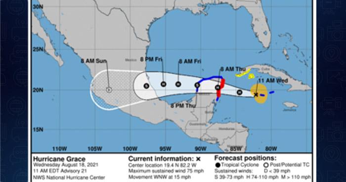 """""""Grace"""" evolucionó de tormenta tropical a huracán"""