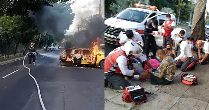 Cuatro lesionados tras incendiarse vehículo en Autopista Norte