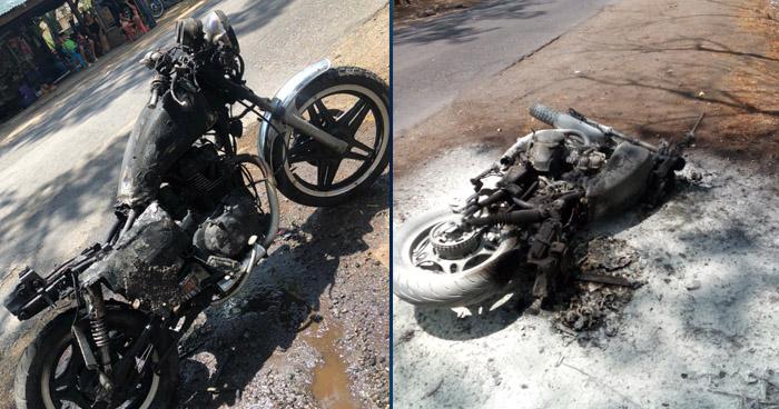 Resulta con quemaduras tras incendiarse su motocicleta