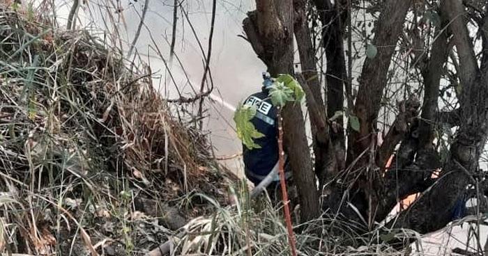 Incendio en maleza amenaza con propagarse a viviendas en Ilopango