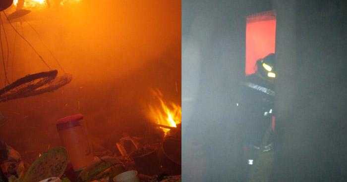 Tres evacuados por incendio que destruyó una vivienda en Chalatenango