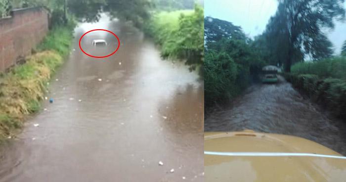 Varias calles inundadas por fuerte lluvia en diferentes puntos de Sonsonate