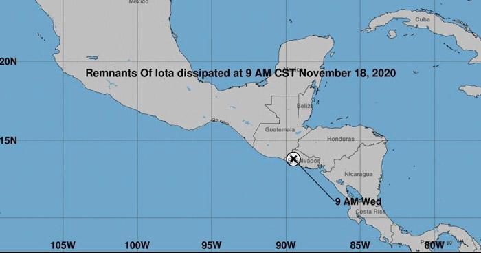 Iota se degrada a Baja Presión pero continuará generando lluvias sobre el país