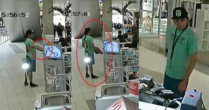 Captan a hombre robando una laptop de un kiosco en centro comercial de Soyapango
