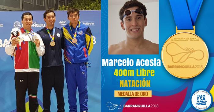 Marcelo Acosta gana Oro en los 400m libres en Barranquilla 2018