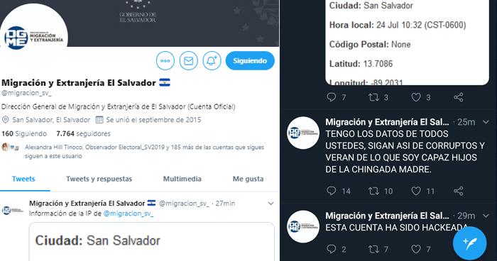 Hackean cuenta de Twitter de Migración y Extranjería de El Salvador