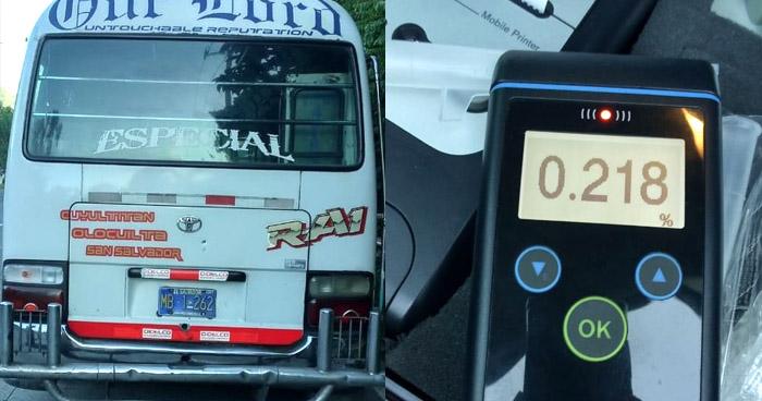 Motorista de microbús R-A1 conducía en estado de ebriedad