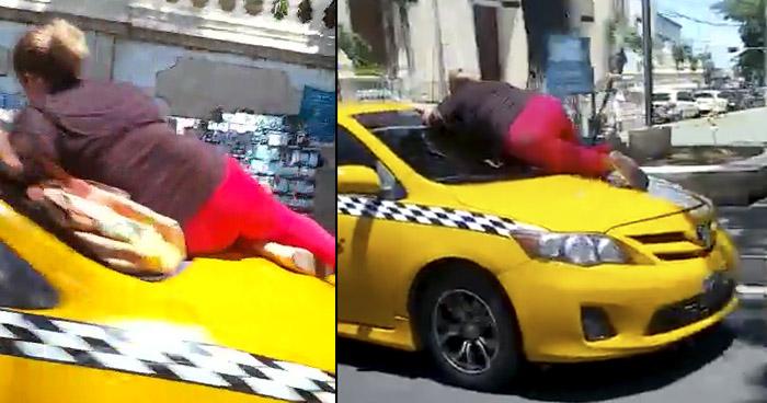 Capturan a mujer que se hizo viral tras subirse a capo de un taxi en San Miguel