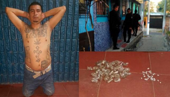 Capturan reconocido pandillero, a quien  además, le decomisaron varias porciones de droga