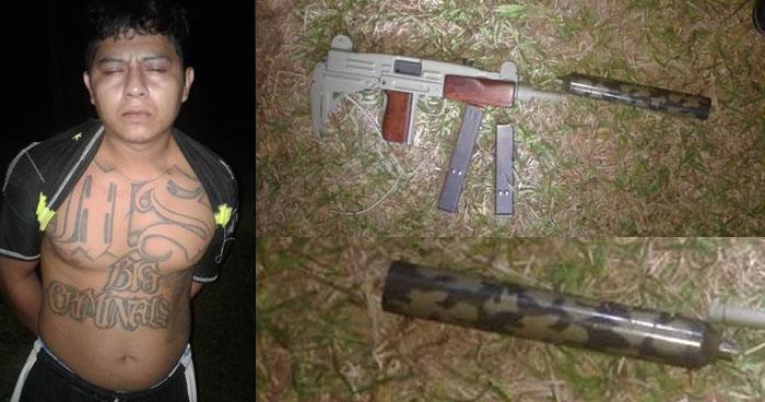 Arrestan a un pandillero con subametralladora UZI en zona rural del Cuscatlán